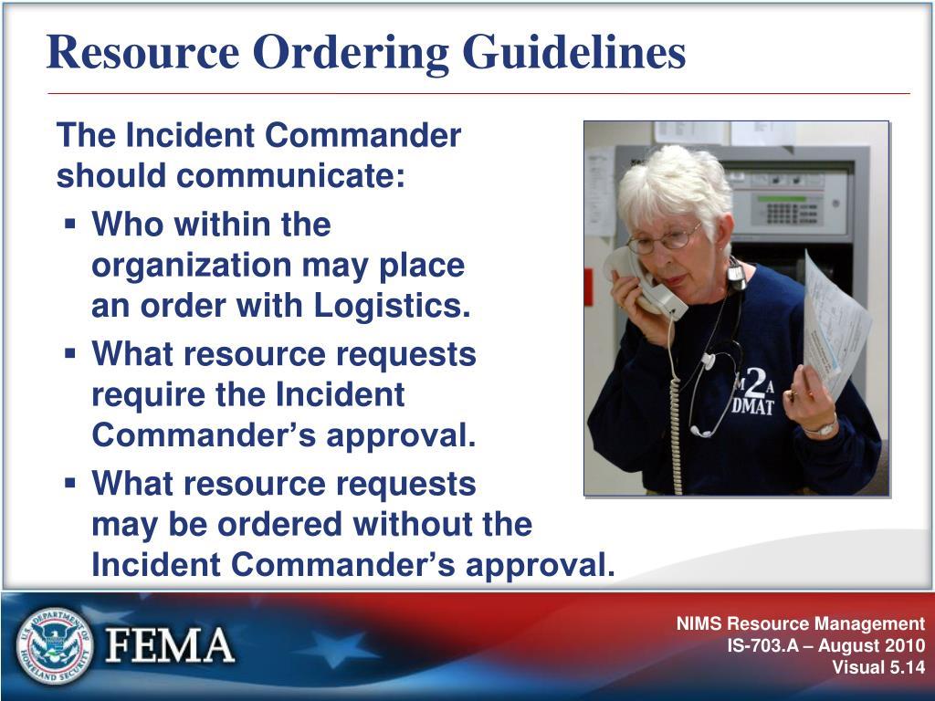 Resource Ordering Guidelines