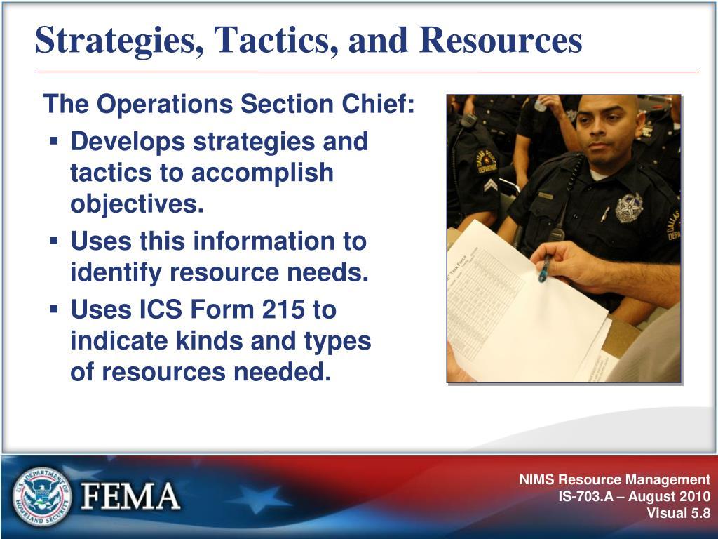 Strategies, Tactics, and Resources
