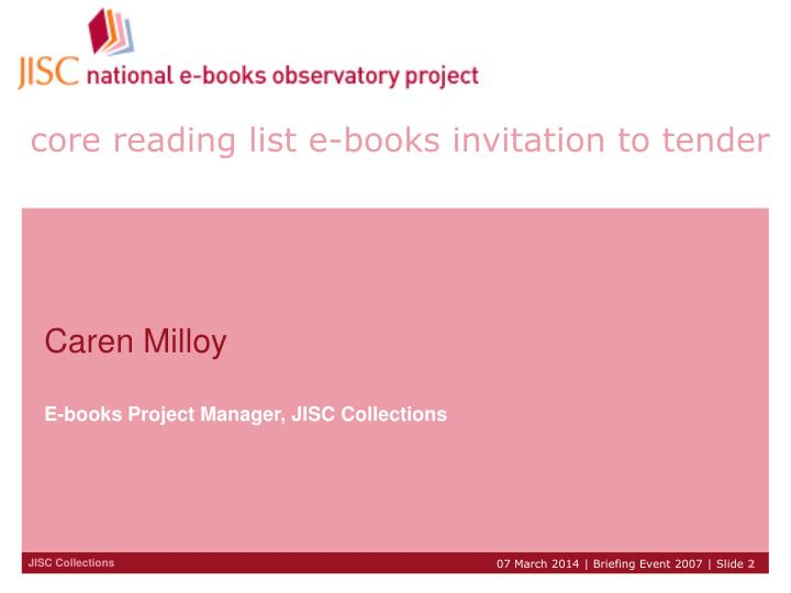 Core reading list e books invitation to tender
