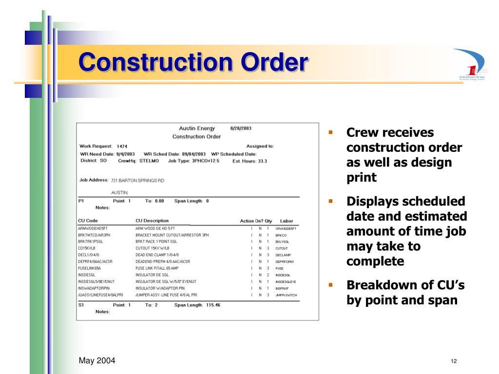 Construction Order