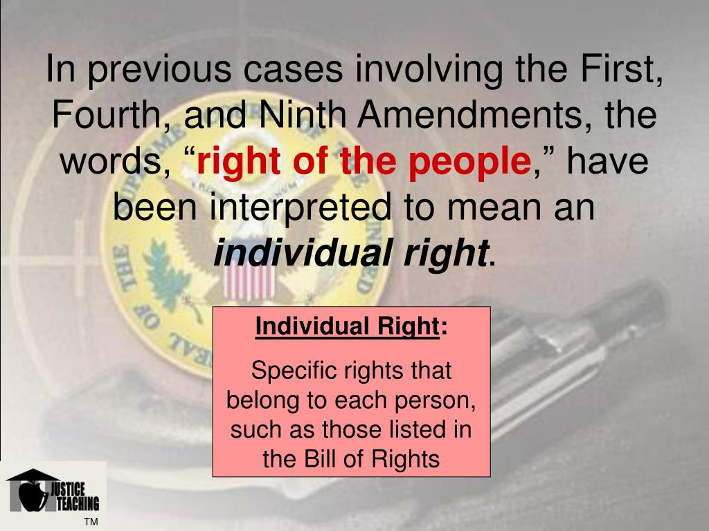 In previous cases involving the First, Fourth, and Ninth Amendments, the words, ""