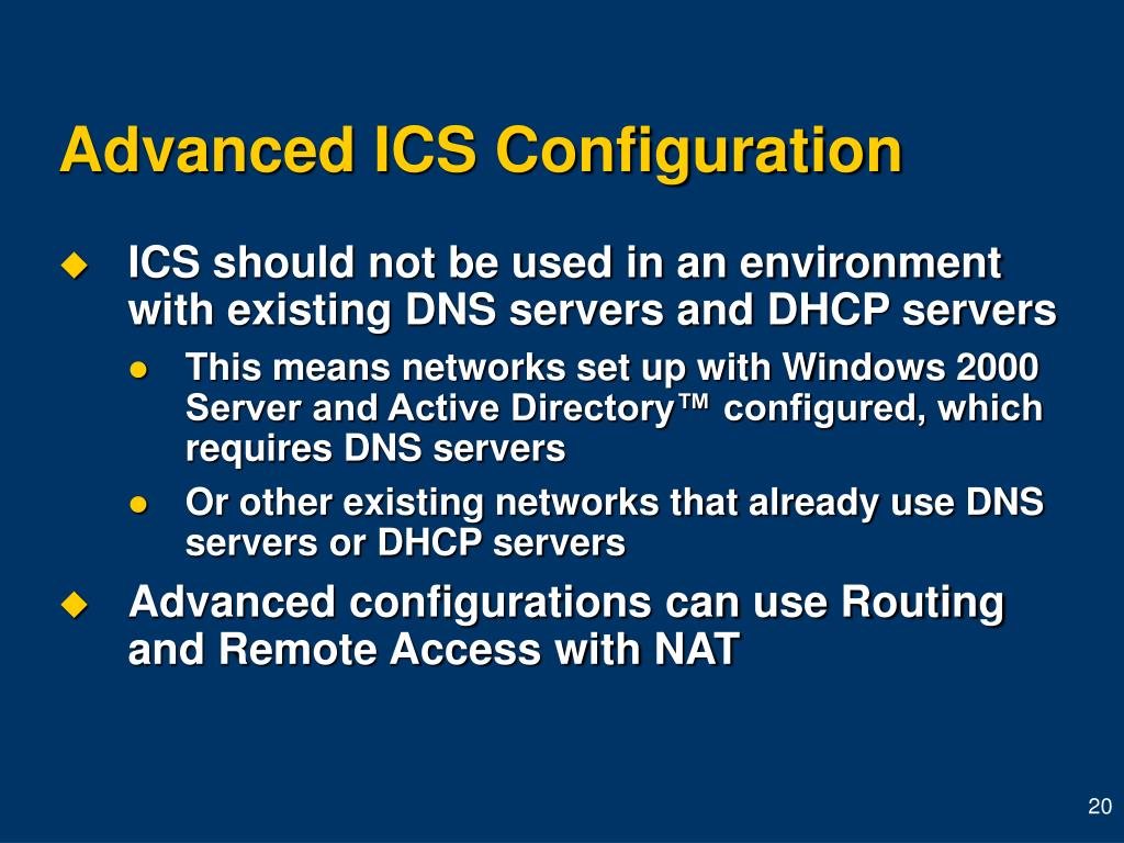 Advanced ICS Configuration