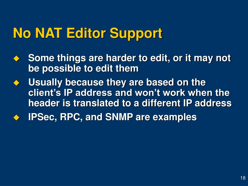 No NAT Editor Support