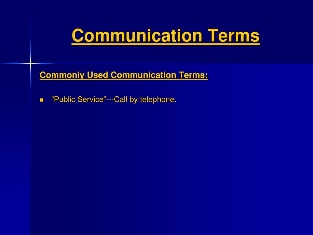 Communication Terms