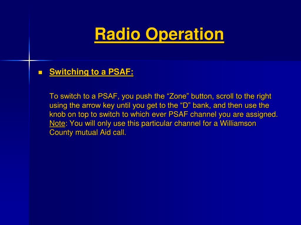 Radio Operation