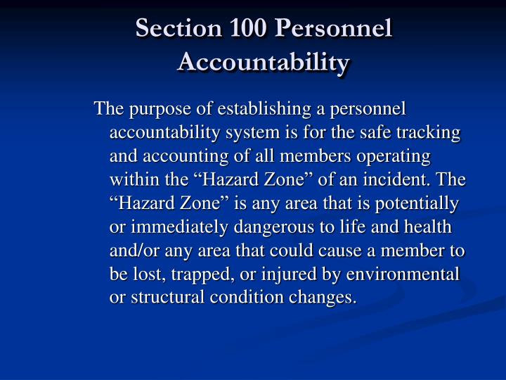 Section 100 personnel accountability