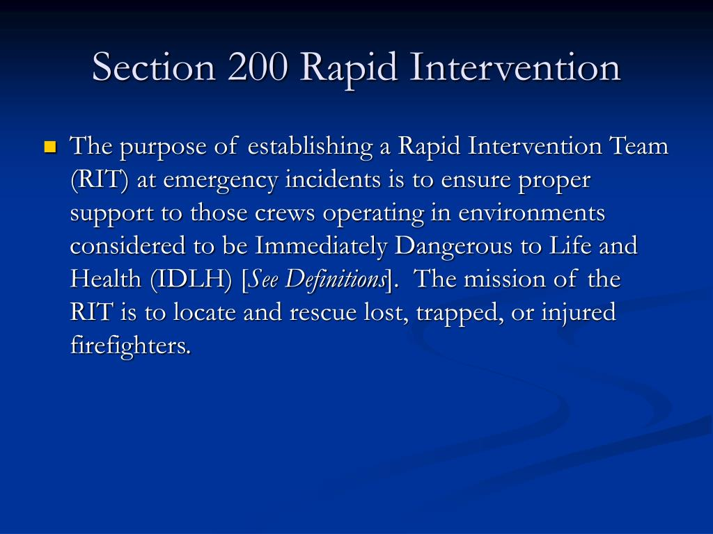 Section 200 Rapid Intervention