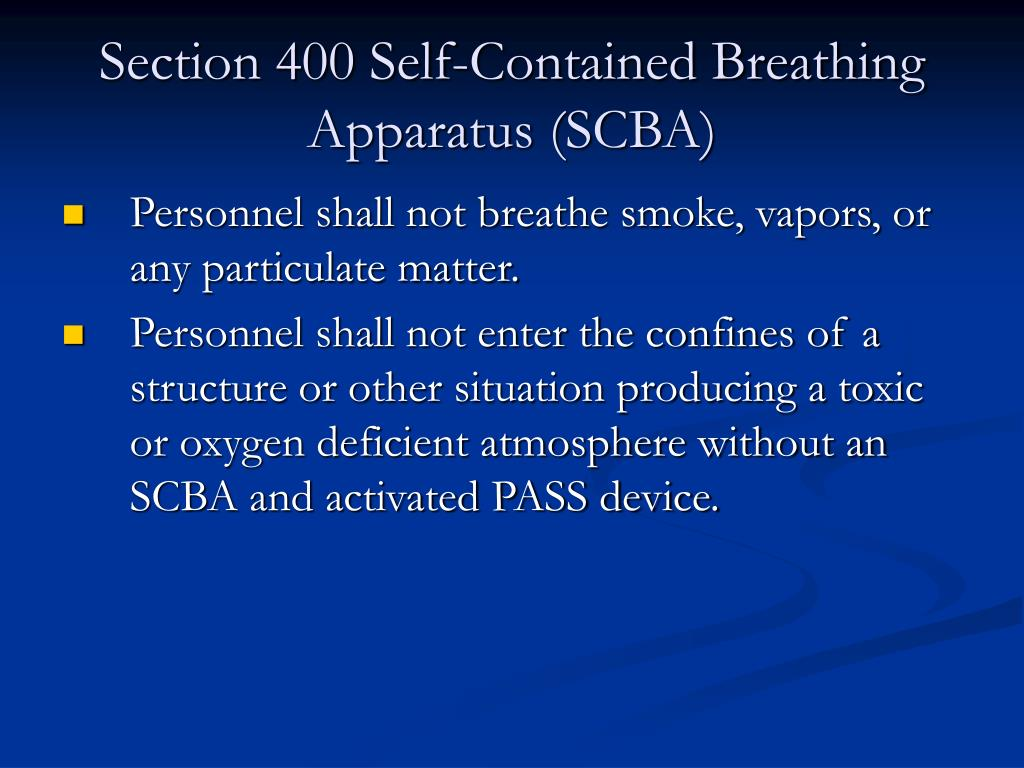 Section 400 Self-Contained Breathing Apparatus (SCBA)
