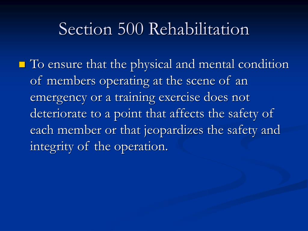 Section 500 Rehabilitation