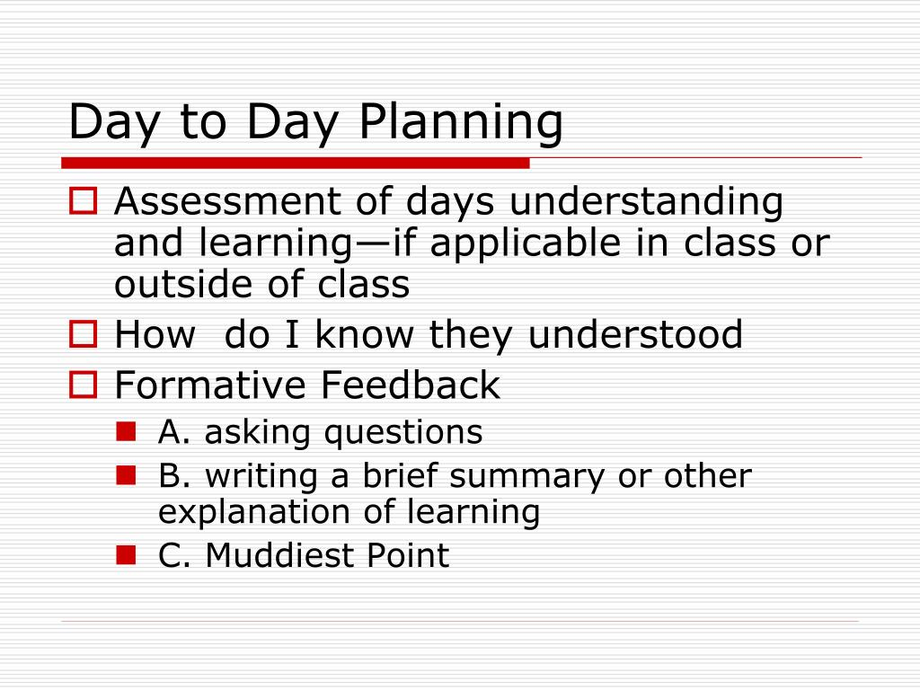 Day to Day Planning