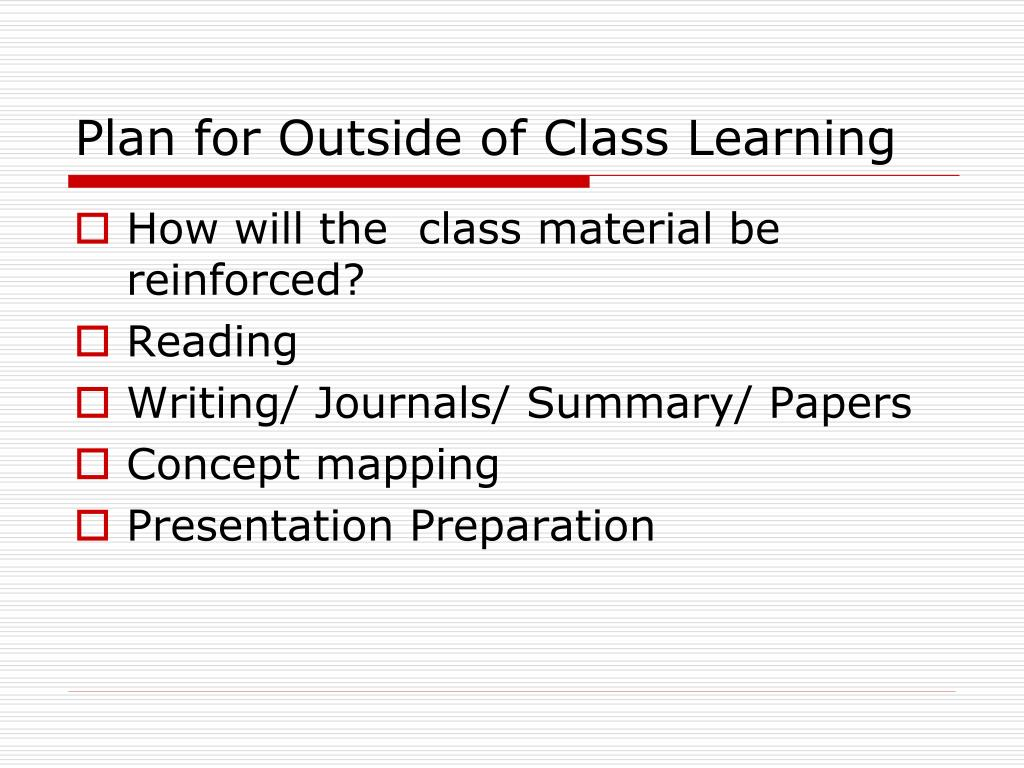 Plan for Outside of Class Learning