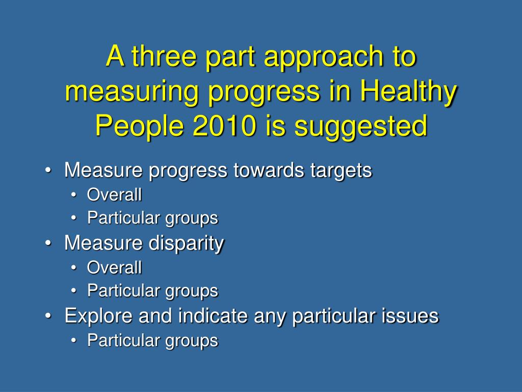 A three part approach to measuring progress in Healthy People 2010 is suggested