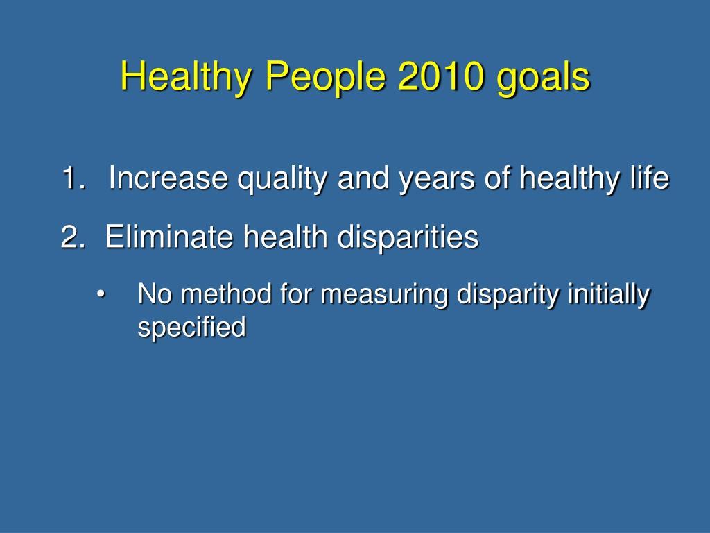 Healthy People 2010 goals