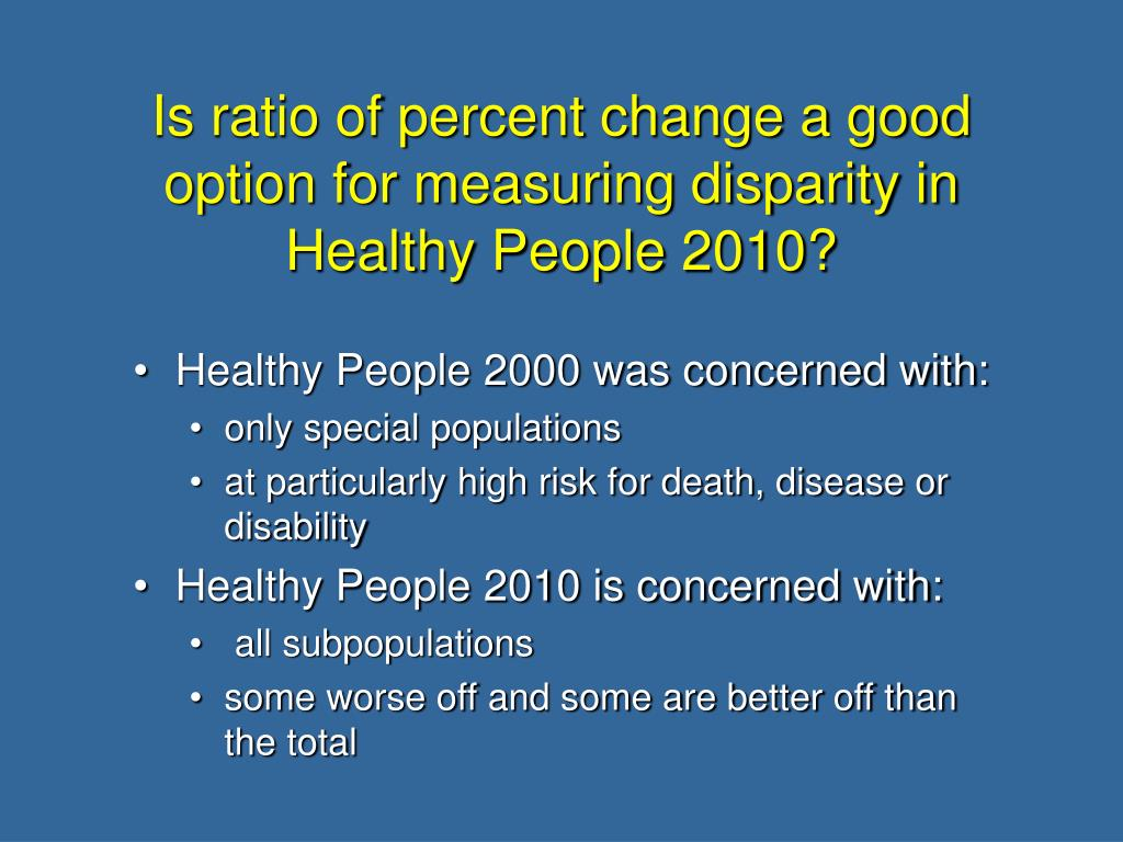 Is ratio of percent change a good option for measuring disparity in Healthy People 2010?