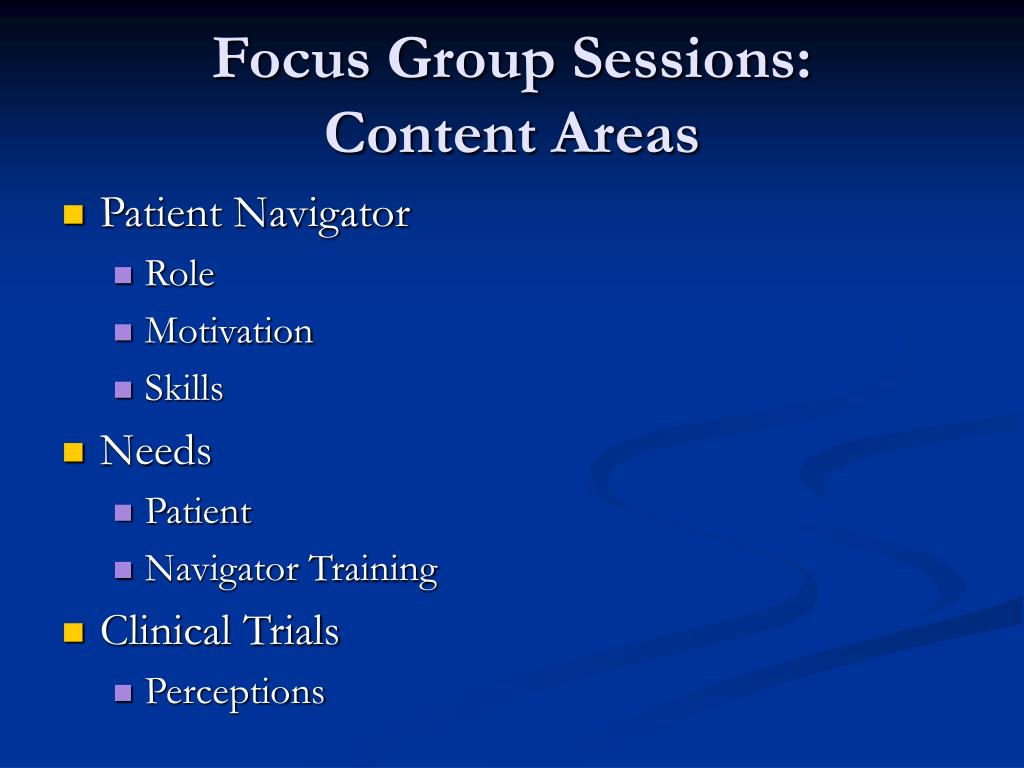 Focus Group Sessions: