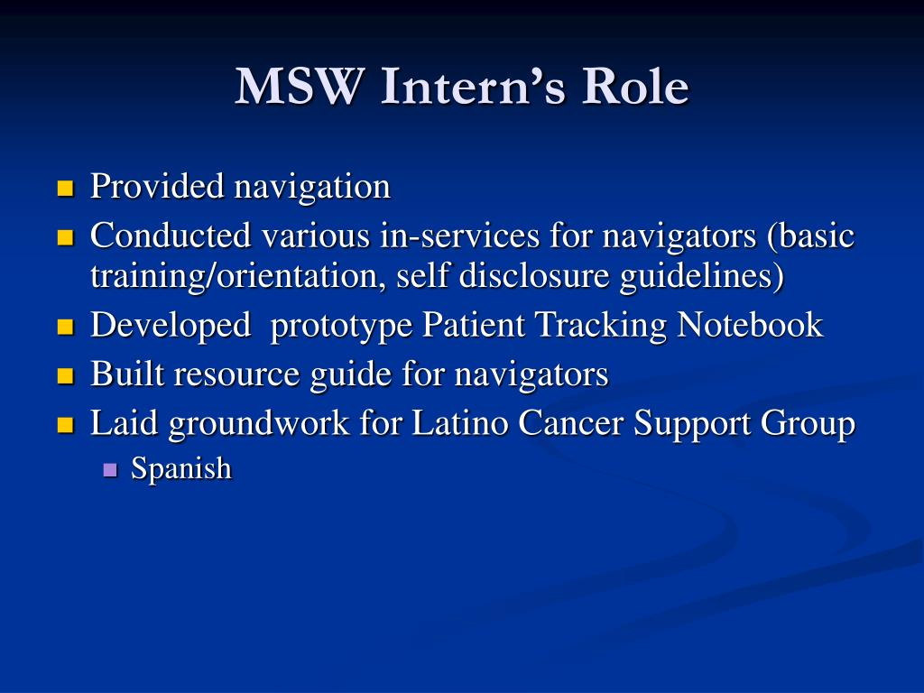 MSW Intern's Role