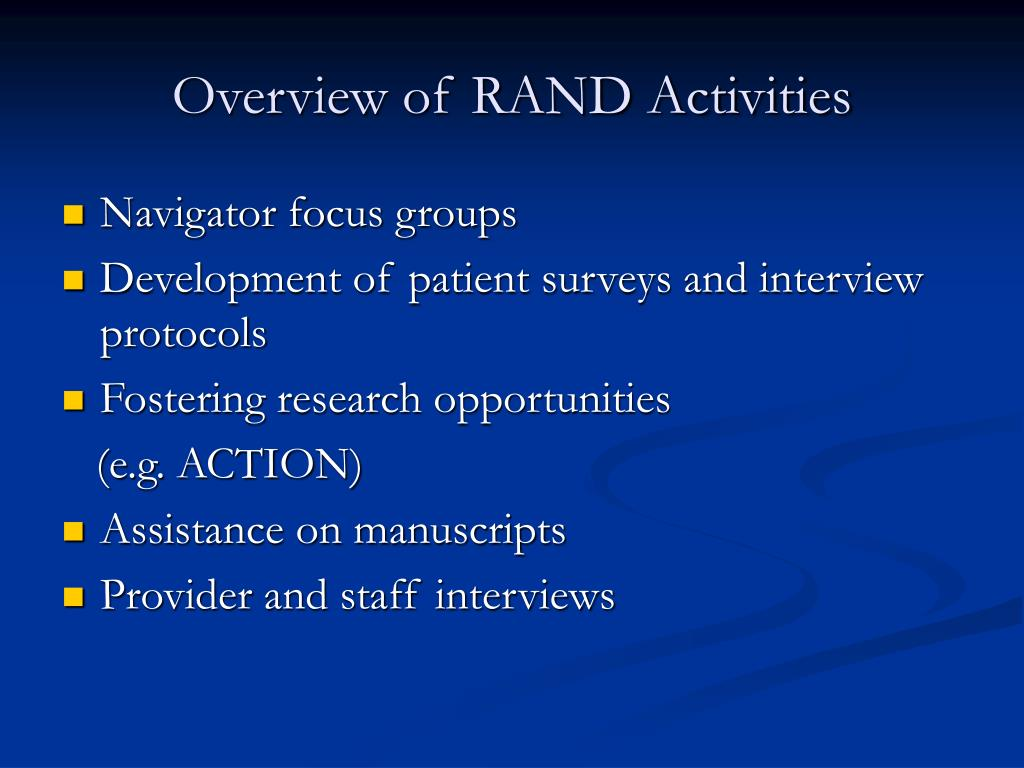 Overview of RAND Activities