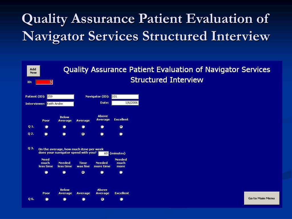 Quality Assurance Patient Evaluation of Navigator Services Structured Interview