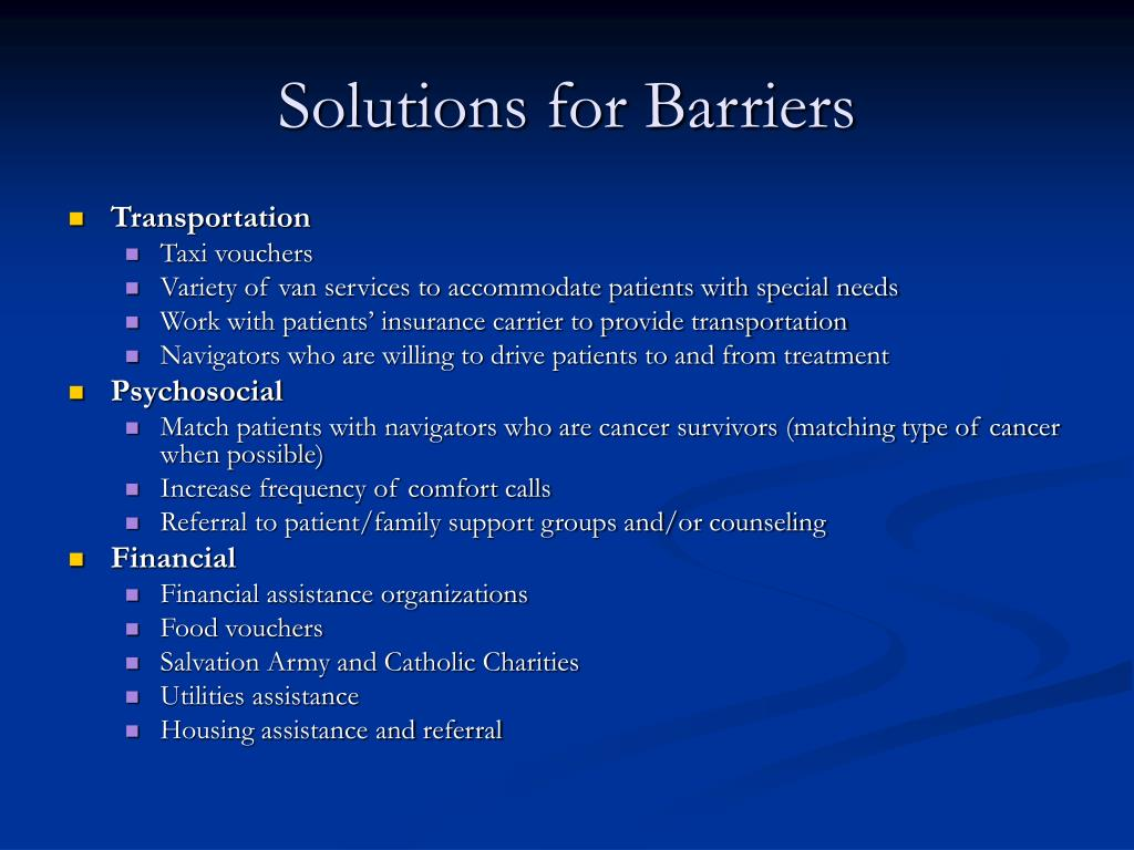 Solutions for Barriers
