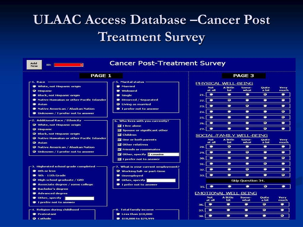 ULAAC Access Database –Cancer Post Treatment Survey