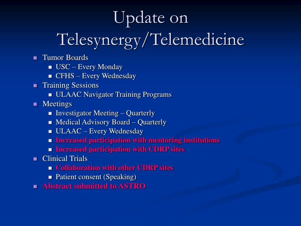 Update on Telesynergy/Telemedicine