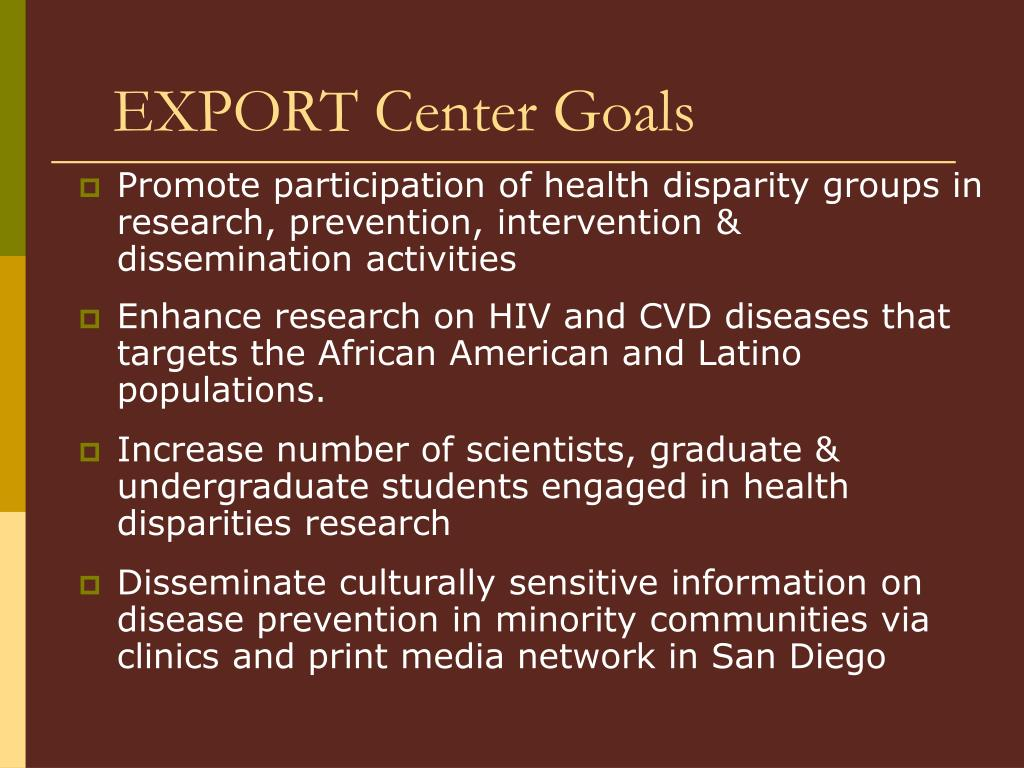 EXPORT Center Goals