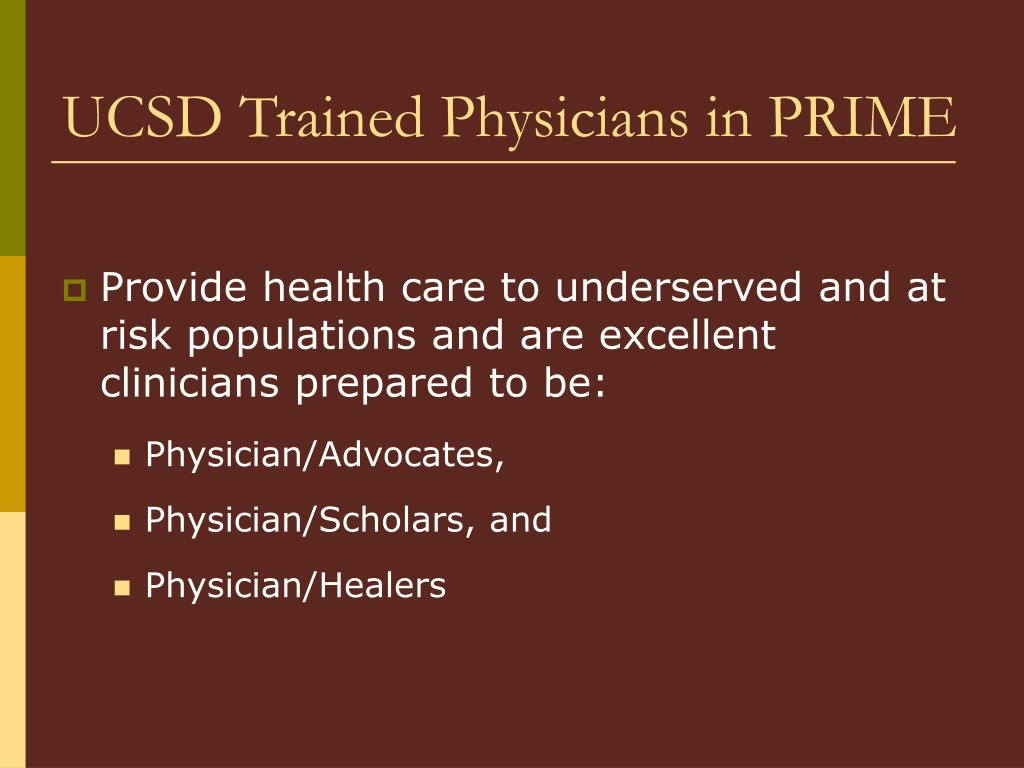 UCSD Trained Physicians in PRIME