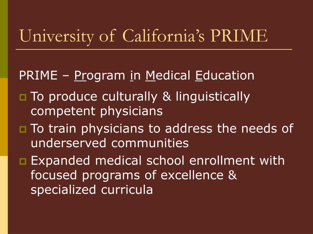 University of California's PRIME