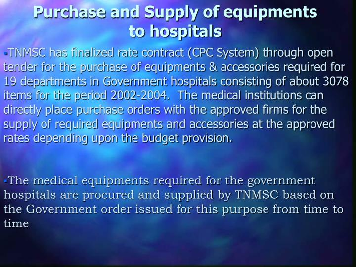 Purchase and Supply of equipments to hospitals
