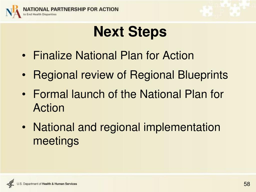 Finalize National Plan for Action