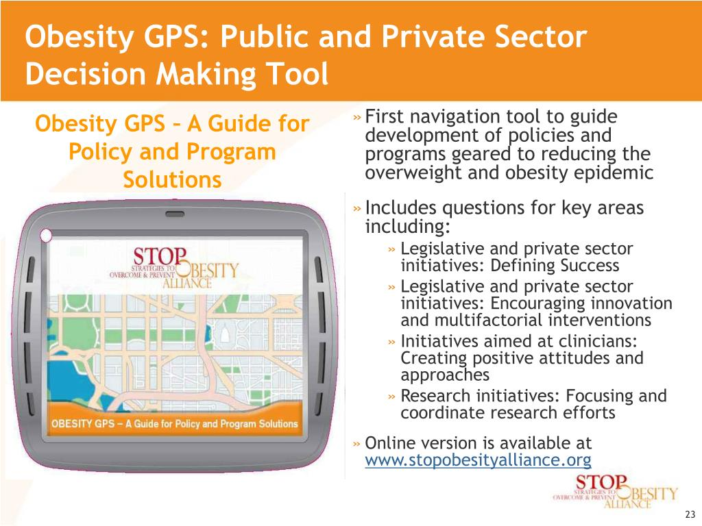 Obesity GPS: Public and Private Sector Decision Making Tool