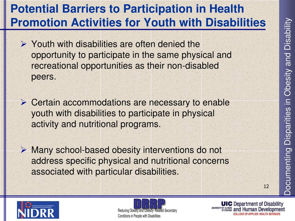 Potential Barriers to Participation in Health Promotion Activities for Youth with Disabilities