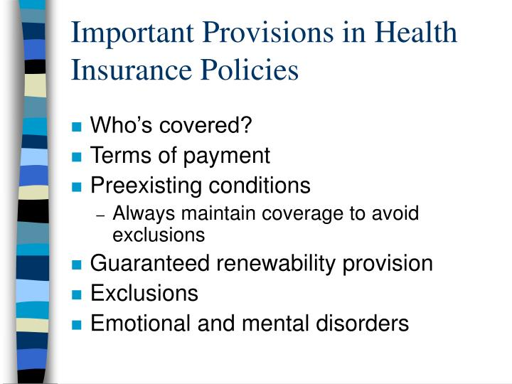 Important Provisions in Health Insurance Policies