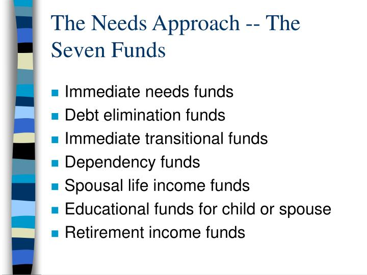 The Needs Approach -- The Seven Funds