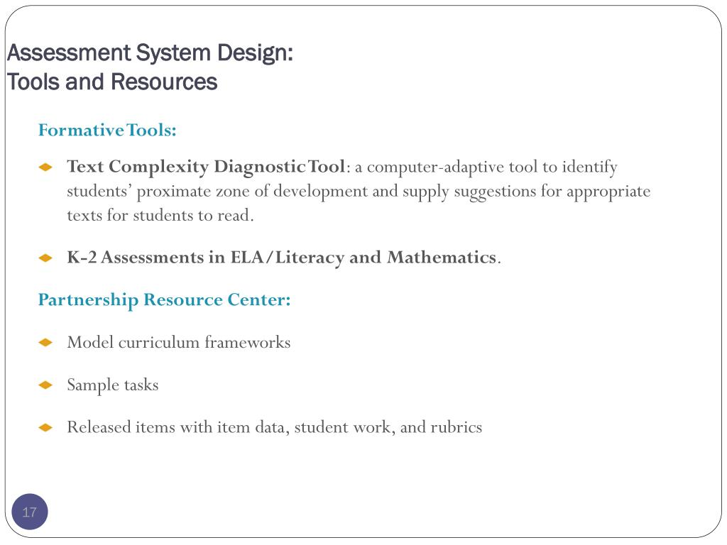 Assessment System Design: