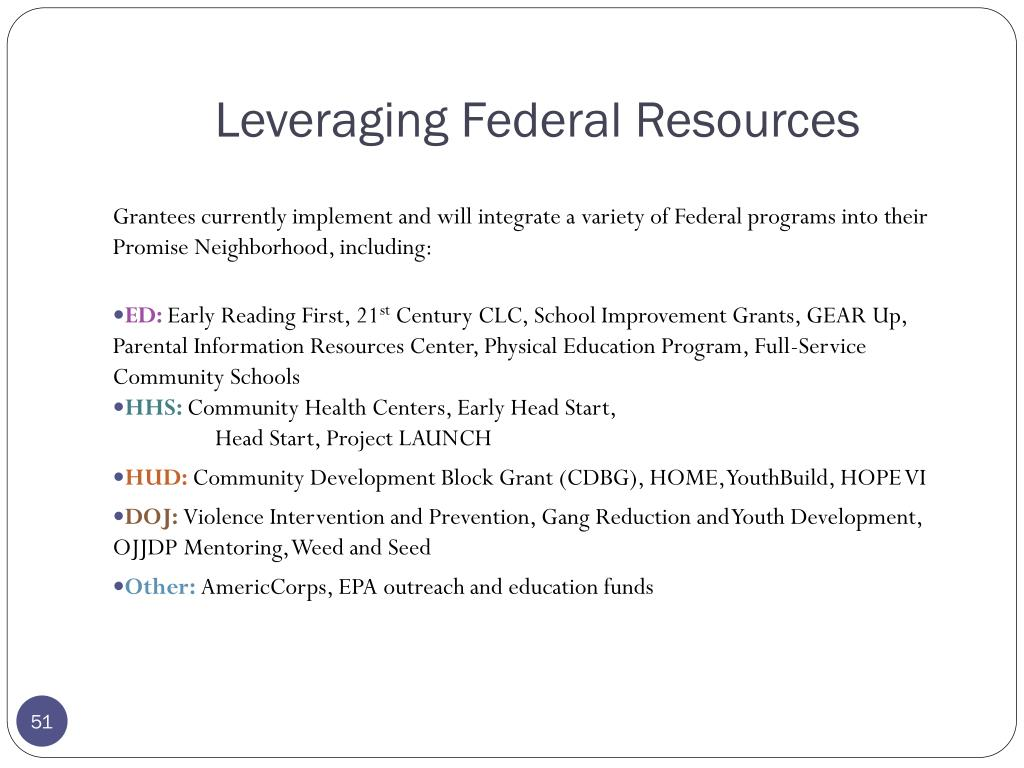 Leveraging Federal Resources