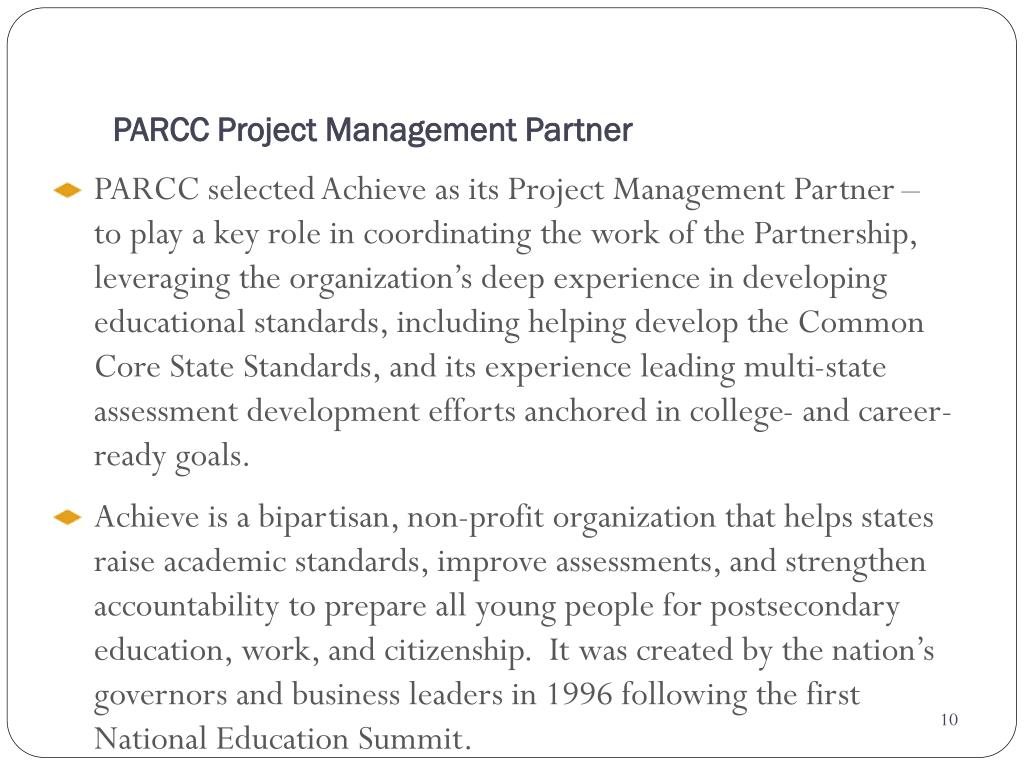 PARCC Project Management Partner