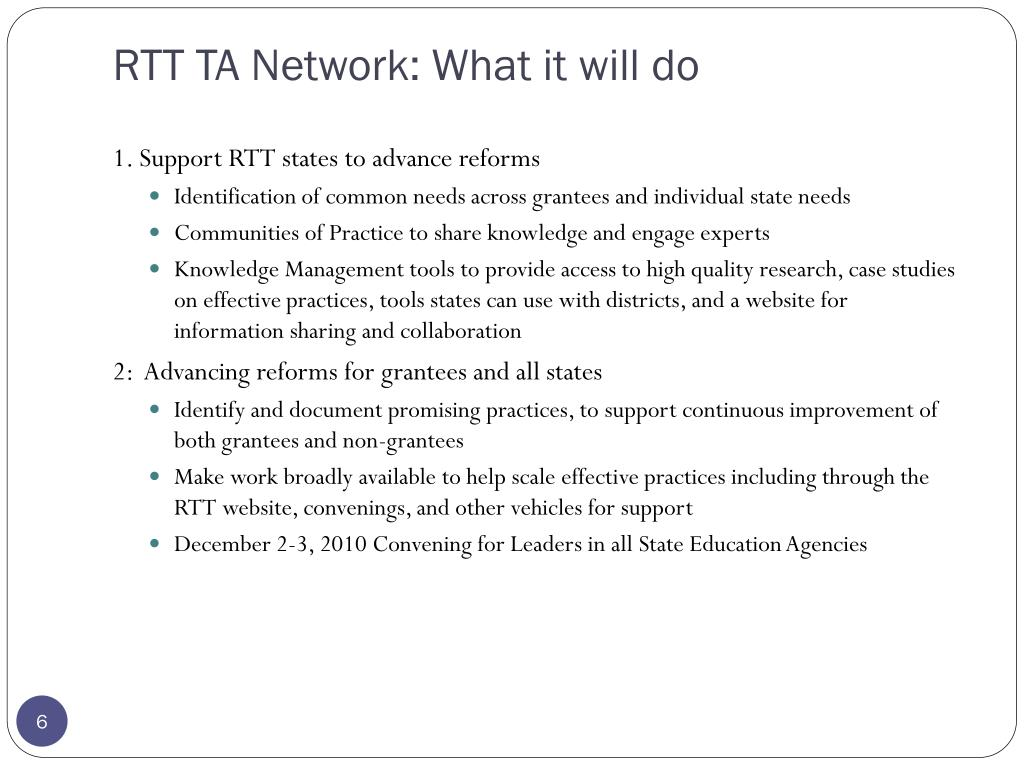 RTT TA Network: What it will do