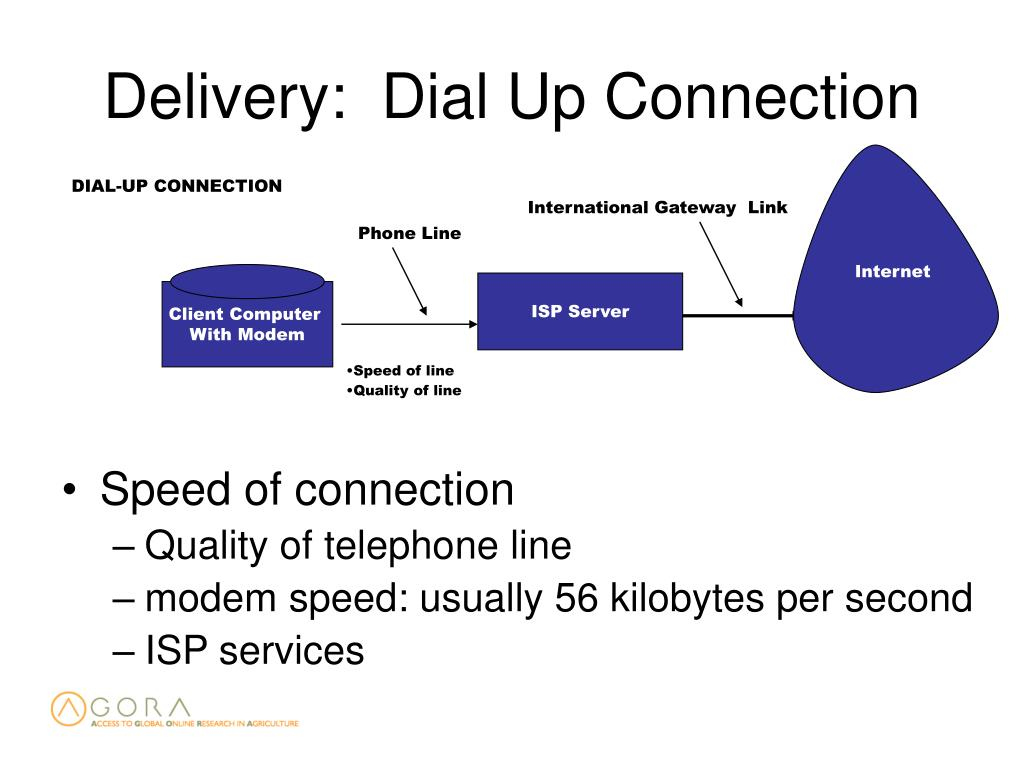 Delivery:  Dial Up Connection