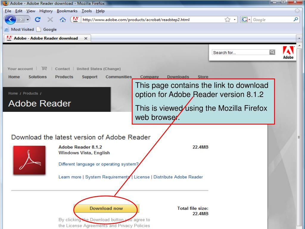 This page contains the link to download option for Adobe Reader version 8.1.2
