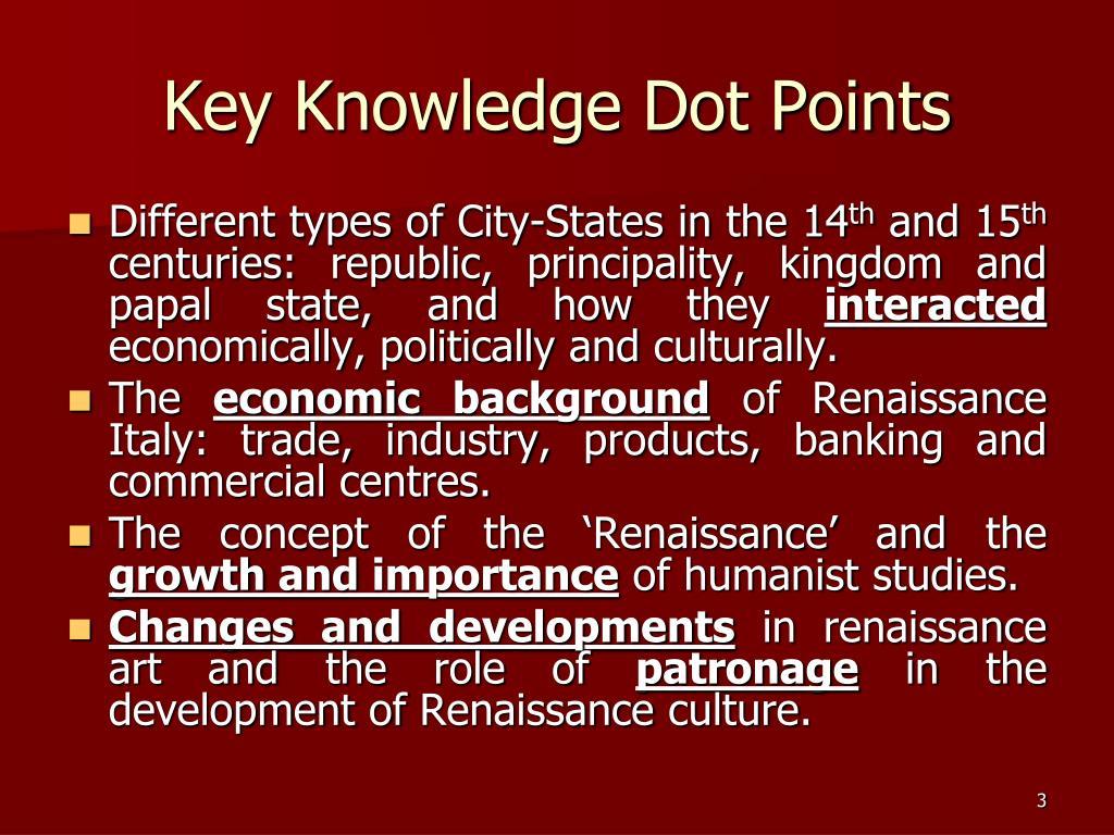 Key Knowledge Dot Points