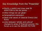 key knowledge from the preamble