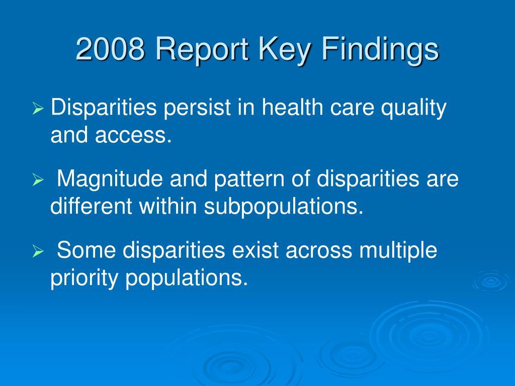 2008 Report Key Findings