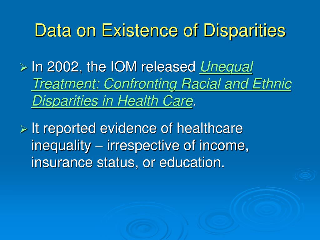 Data on Existence of Disparities
