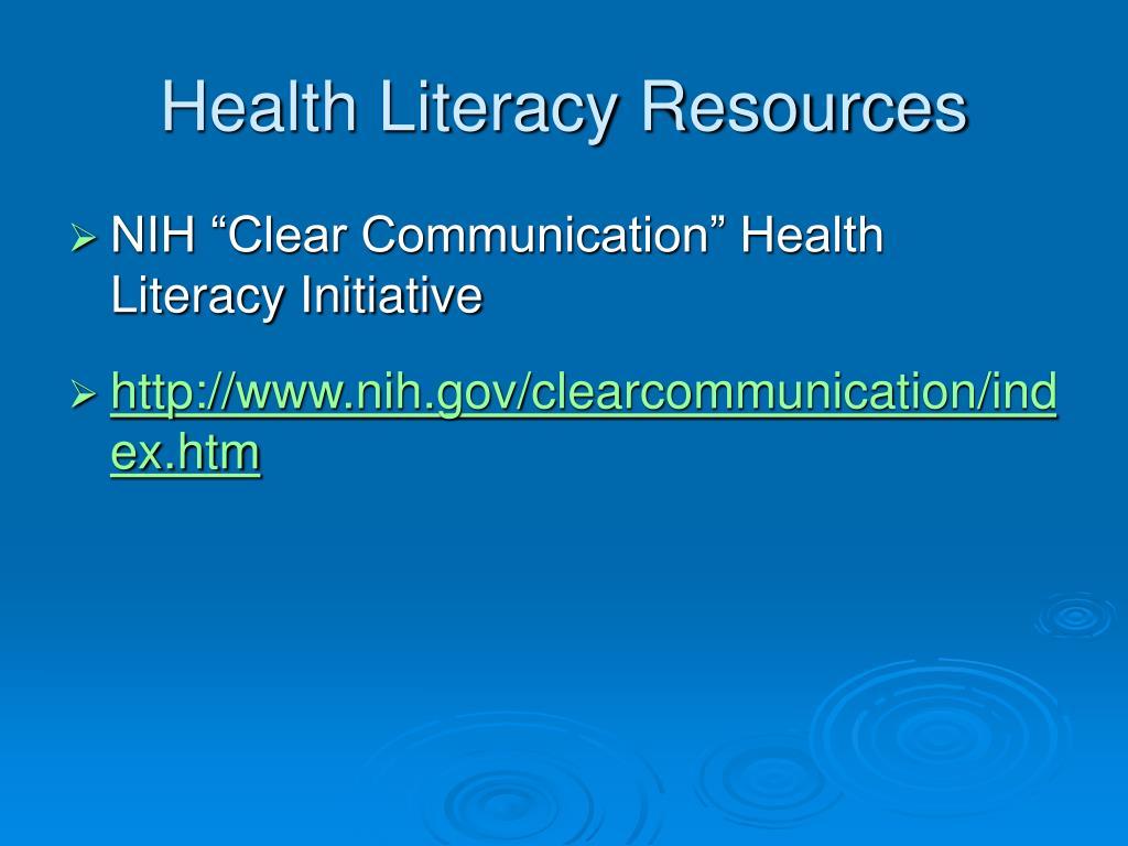 Health Literacy Resources