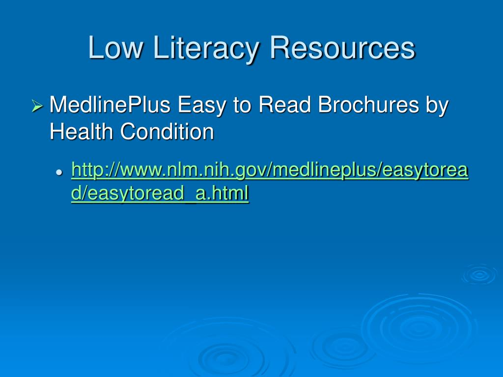 Low Literacy Resources