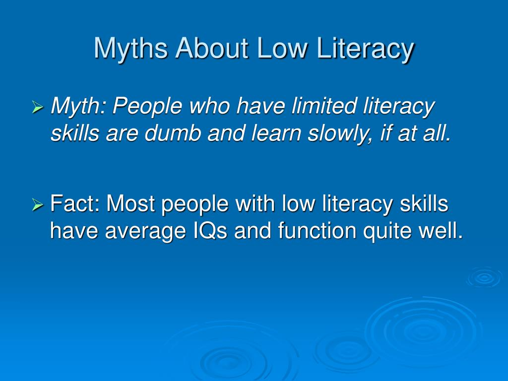 Myths About Low Literacy