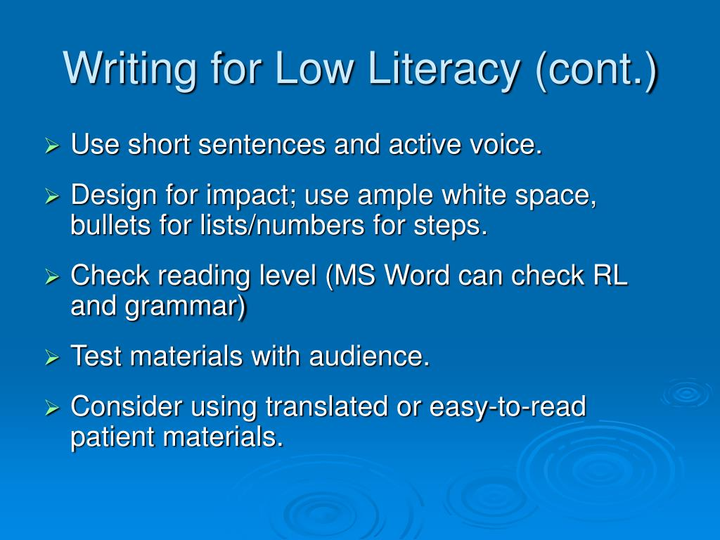 Writing for Low Literacy (cont.)