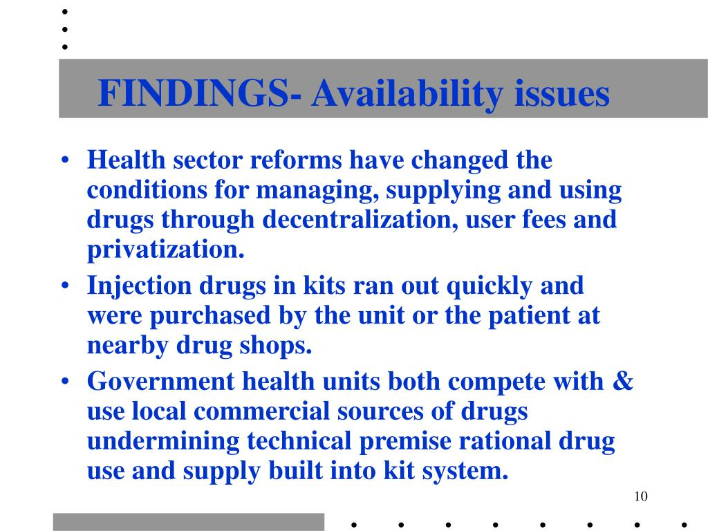 FINDINGS- Availability issues