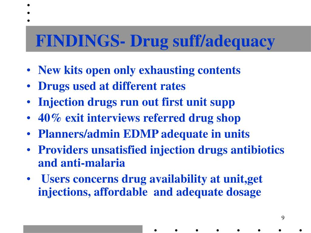FINDINGS- Drug suff/adequacy